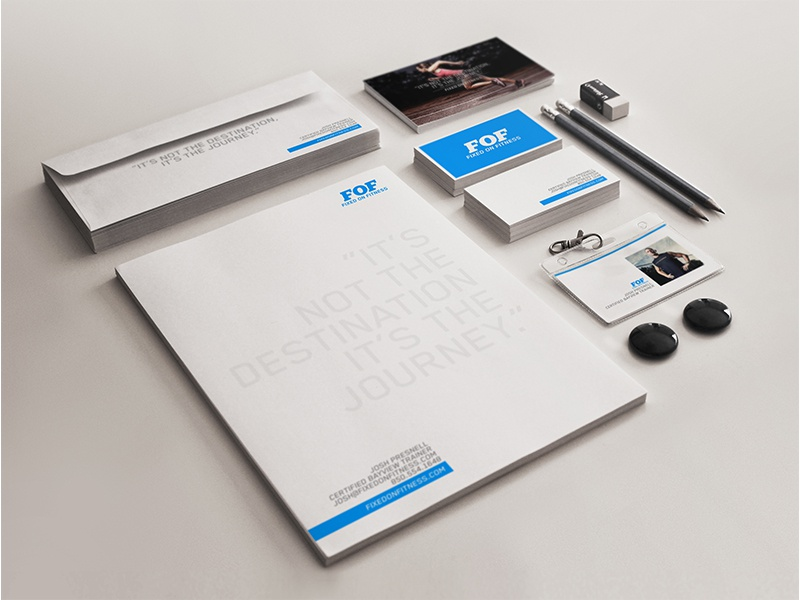 Fixed on Fitness Collateral branding design logo stationary