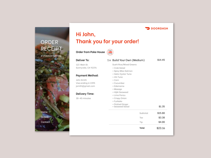Daily UI 017 — Email Receipt email receipt daily ui 017 daily ui daily ui challenge ui design