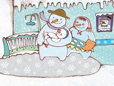 Join Snowman family and enjoy the winter kid character design illustration