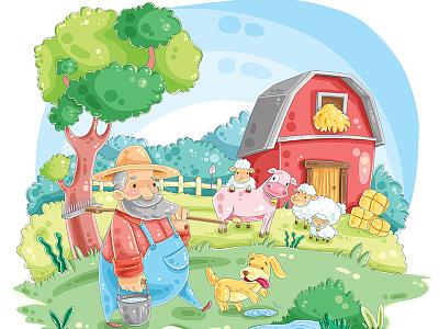 Happy farm  character design illustration