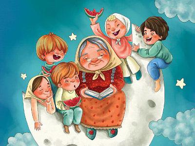 The lovely grandmother illustration