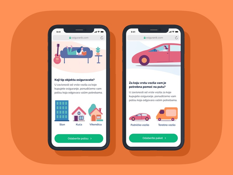Insurance ecommerce • Product page product page mobile insurance ecommerce web