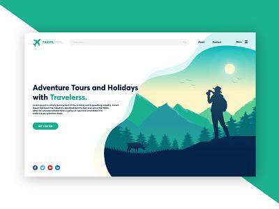 Travelerss Website - Day 5 of 6 Days UI Challenge ui design travelers webiste travelers ui travelers travel ui adventure ui advanture website uiux website ui advanture