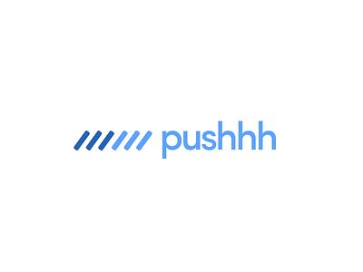 Pushhh blue design logo design branding logo