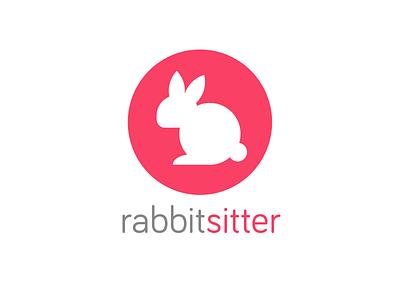 Rabbit Sitter bunny mascot logo rabbit
