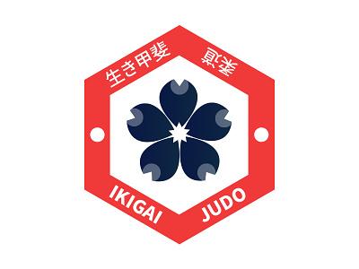 Ikigai Judo japanese blossom blue red branding logo judo