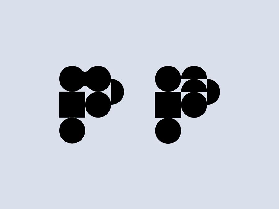 P studies p letter icon modernist logo identity