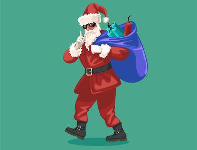 bad santa with gift bag santa drawing animation vector sketch illustration drowning design vector art illustrator design art artwork