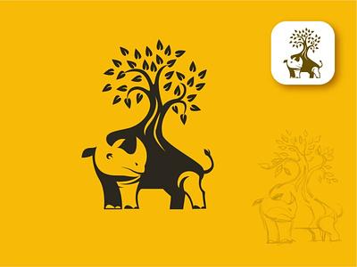 Rhino Tree logo concept , animal logo. abstract logo nature logo business icon rhino logo tree logo design brand identity animal logo graphic design drowning illustration design branding ui logo vector art illustrator design art artwork