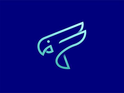 F + parrot logo abstract logo parrot logo blue 3d logo icon icon brand identity design animal logo bird logo graphic design illustration vector art drowning artwork illustrator branding ui logo design design art