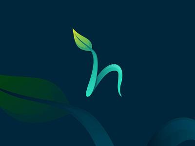 H leaf gradient modern logo concept brand identity modern logo alphabet logo letter mark h logo abstract nature logo leaf logo graphic design branding ui design logo artwork design art