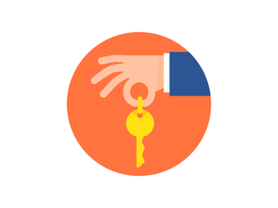 Here is your key. simple circle flat icon hand key