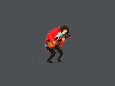 Rock'n'roll! rock guitar character pixel art pixel