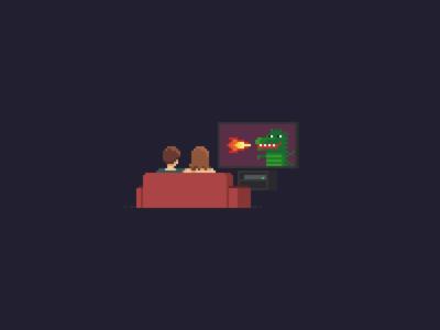 TV couple 8 bit pixel art