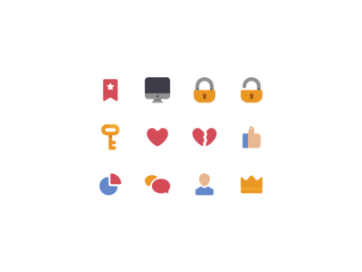 Icons colored profile chat display key lock crown heart glyph icon