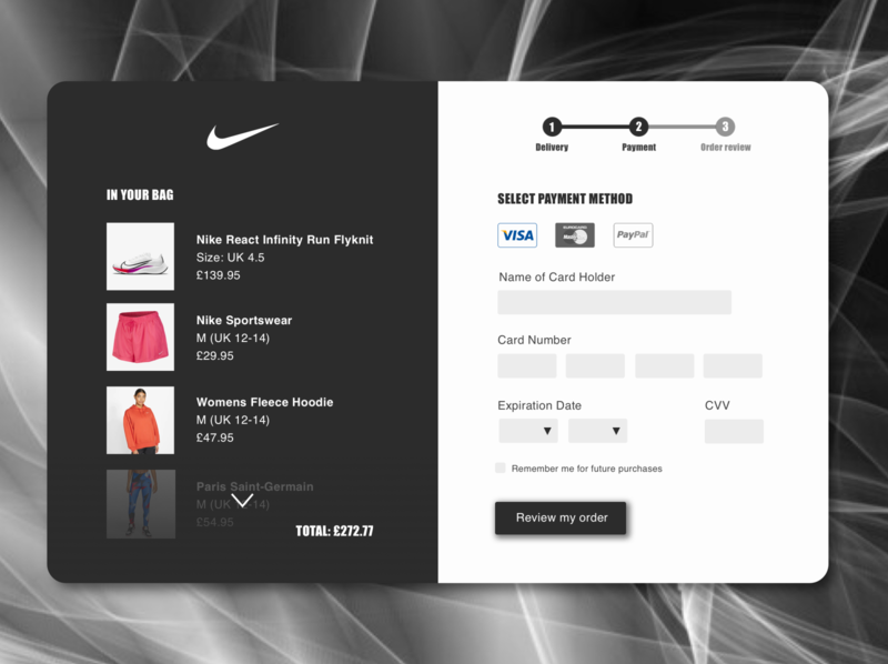 Nike Checkout Page Redesign uxdesign uidesign sketch dailyuichallenge dailyui 003 dailyui checkout nike design ui ux