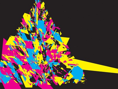 Exploding Geometry triangle cmyk abstract