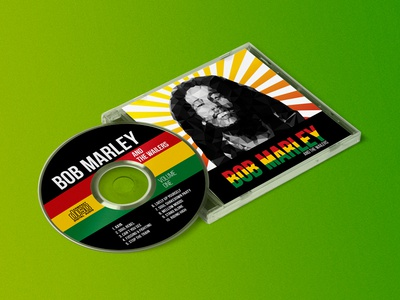 Bob Marley Album Cover and Label Mockup yellow green red low poly mockup music cd