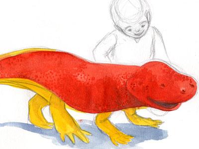 Giant pet salamander sketch watercolor giant salamander imagination