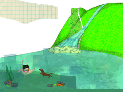Alejo swimming illustration digital illustration collage childrens illustration childrens book children book illustration