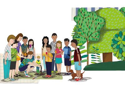 The seed of friendship illustration digital illustration collage childrens illustration childrens book children book illustration