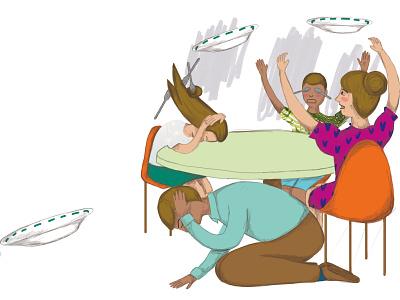 Crazy plates illustration digital illustration collage childrens illustration childrens book children book illustration