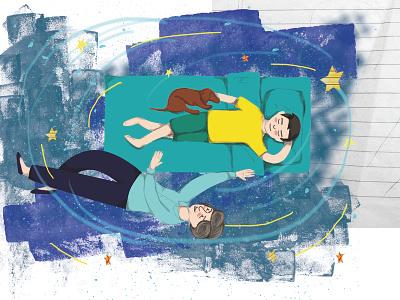 Dreaming illustration digital illustration collage childrens illustration childrens book children book illustration