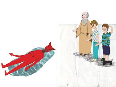 Sad devil crying illustration digital illustration collage childrens illustration childrens book children book illustration