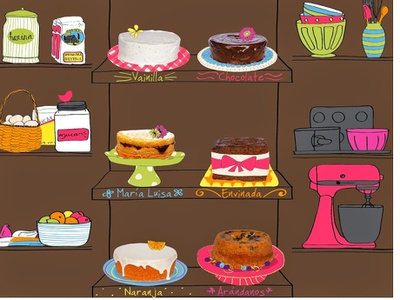 Pastry shop brochure baking cakes pastry shop illustration collage digital illustration