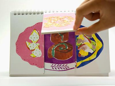 Interactive recipe book book design recipe book food stencil design illustration collage