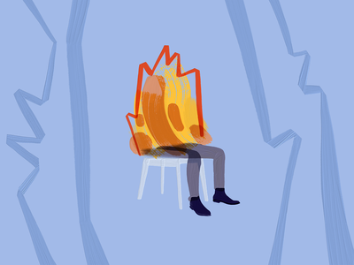 Rejected blog cover idea stress anxiety 2020 adobe fresco crisis meme this is fire this is fine man on fire fire burn illustration burnout peakon