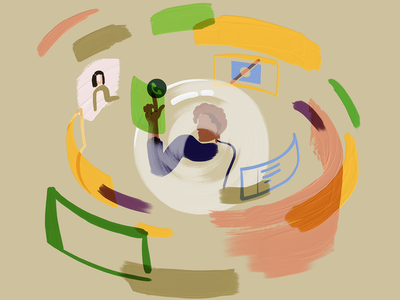 Onboarding during a pandemic   Blog cover bubble adobe fresco meet employee onboarding zoom call 2020 isolation pandemic blog cover illustrations peakon