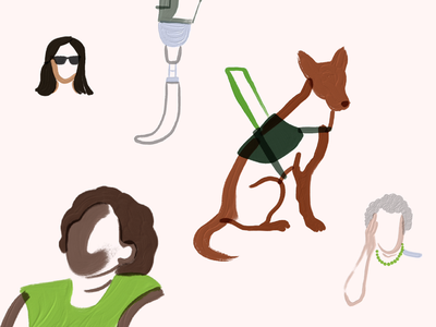 Series on accesibility | Blog cover adobe fresco colorblind visually impaired control gestures disability blindness assistance dog text magnifier screen reader voice alt text website accesibility product peakon