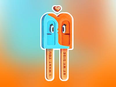Loving Ice-Cream mule sticker charity cute sweet food colorful pop lolly love icecream