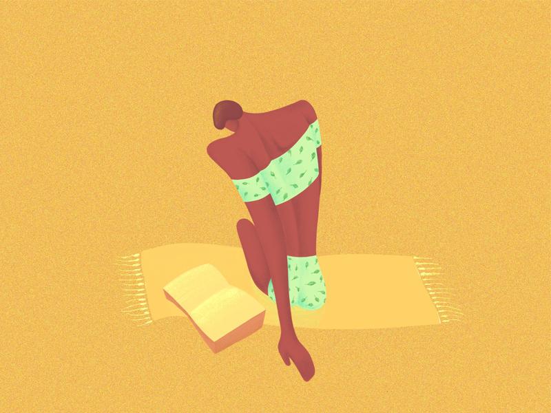 Summer babe procreate ipad drawing illustration sun tan lady vintage swimsuit summer woman affinity designer