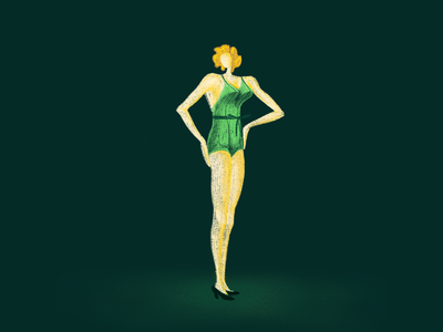 Vintage Babe character blonde green yellow illustration pretty woman lady swimsuit vintage summer design