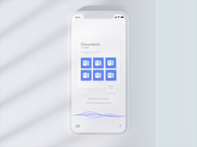 Voice file manager file manager app iphone artificial intelligence voice control voice search ux ui white clean c4d 3d motion animation voice assistant files manager manipulation file voice