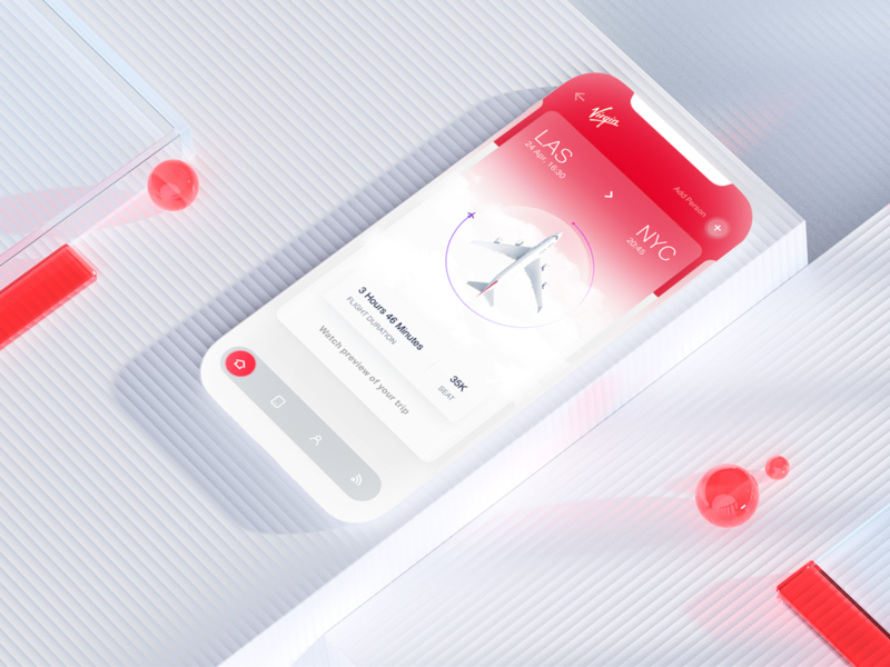 Ticket holder UI illustration travelling travel branding 3d c4d flight plane userinterface colors ui ux ticket booking color red holder ticket