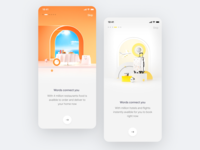 Simple iOS Onboarding animation ios app ios educational onboarding landing home simplicity interior room space scene illustrations restaurant food travel minimal clean simple