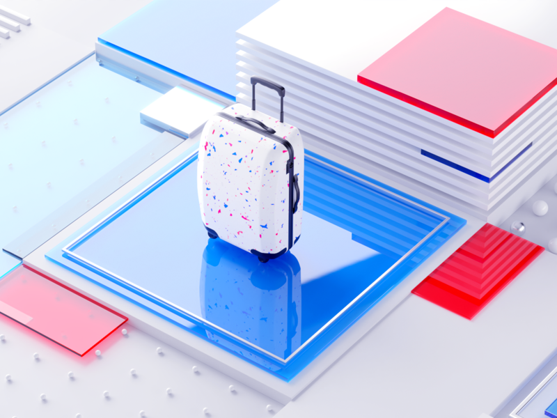 Travel bag cubes illustration c4d 3d brand identity brand red blue glass gradient graphicdesign branding ios travel app traveling bag