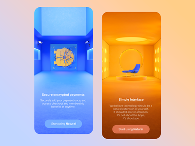 Colorful onboarding iphone ios landing start simple encryption uiux ui onboarding color palette color relaxation safety safe blue orange colorful colors c4d 3d