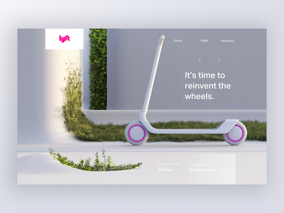 Scooter web site CGI lyft branding illustration c4d 3d motion ui scooter homepage home layout website web cgi animation