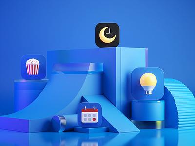 3D iconography for Sber smart market illustration brand identity branding art vr presentation calendar icon set smarthome lamp popcorn timer sleep elements scene icon design 3d icon 3d icons iconography