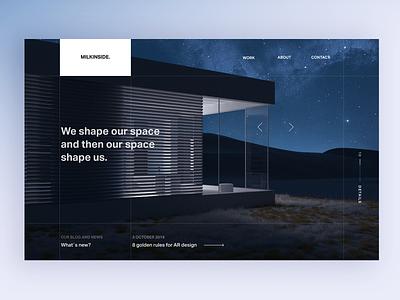 Website Night home visual ui ux grid layout details arrows premium luxury studio team agency product webdesign landing website smarthome home exterior web