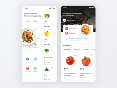 Dish page UI calories kcal app design chicken wings food simple white ios14 servings plates plate dish ingredient shopping grocery ios app ios ux 3d ui