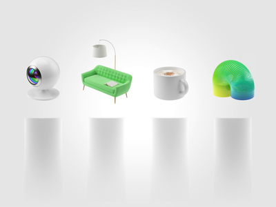 Augmented reality icons camera playground coffe cup sofa chill iconset aep c4d illustration animation motion ui art direction 3d art 3d icons vr ar augmented reality