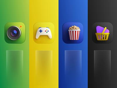 App market 3d icons game camera popcorn marketplace colors branding marketing illustration c4d ux ui motion tv smarthome application 3d app design sber market