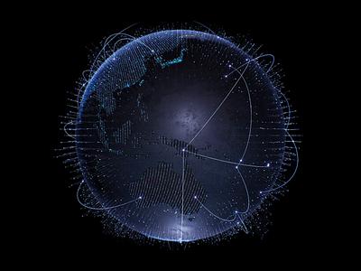 Dark blue globe c4d earth world globe dashboard connection map background landing website finance fintech trade branding illustration animation motion dailyui data visualization data