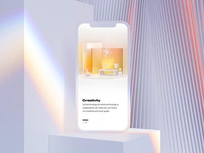 Smart Home app Onboarding typeface simplicity intelligence intelligent glass lamp c4d color smart home interior branding illustration ux 3d animation ui motion smartphone smarthome smart