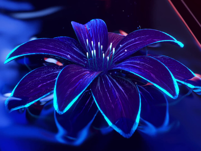 Flower art intro for Natural AI cgi logo flower logo branding 3d animation ui motion flower illustration grops neon lights neon dark natural flowers splash loading intro art flower